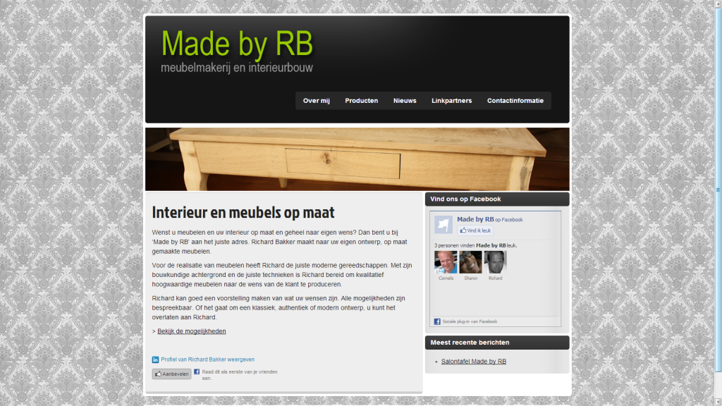 Printscreen startpagina Made by RB